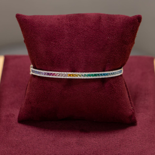 Sterling Silver Cubic Zirconia Rainbow Bangle