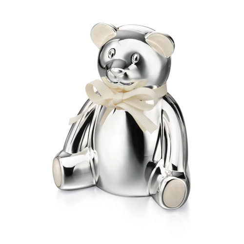 D for Diamond Silver Plated Teddy Bear Money Box