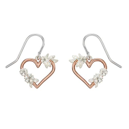 Sterling Silver Rose Gold Plated Heart and Floral Leaf Drop Earrings