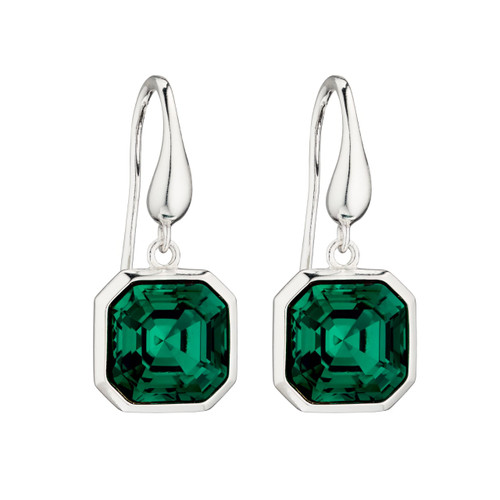 Sterling Silver Imperial Cut Emerald Colour Swarovski Crystal Drop Earrings
