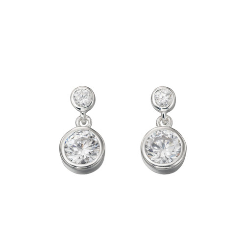 Sterling Silver Cubic Zirconia Double Drop Earring