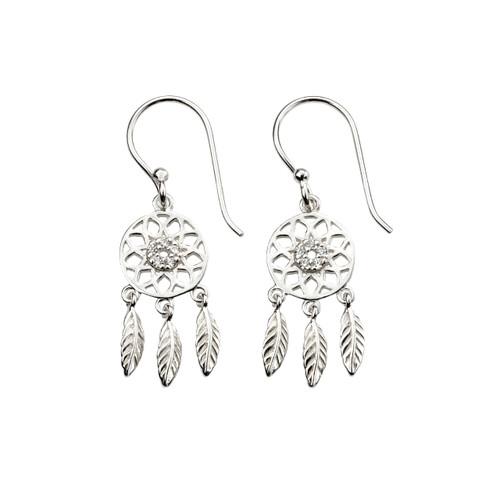 Sterling Silver Cubic Zirconia Dreamcatcher Earrings