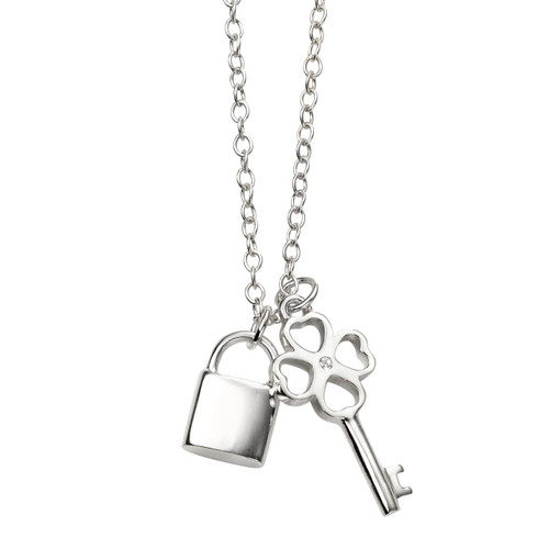 Sterling Silver Padlock and Key Pendant