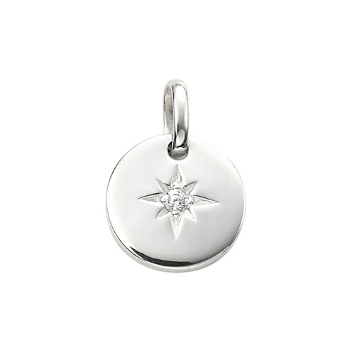 Sterling Silver Cubic Zirconia Star Set Disc