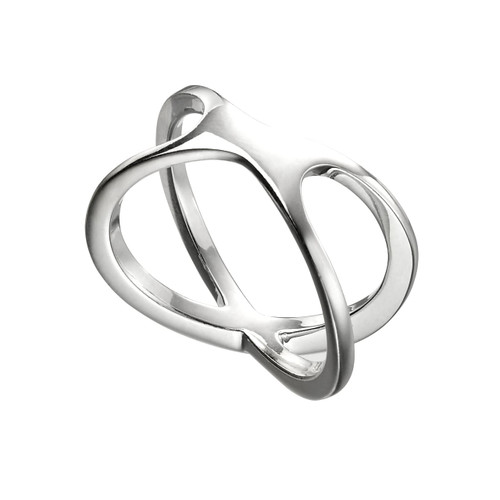 Sterling Silver Plain Crossover Ring
