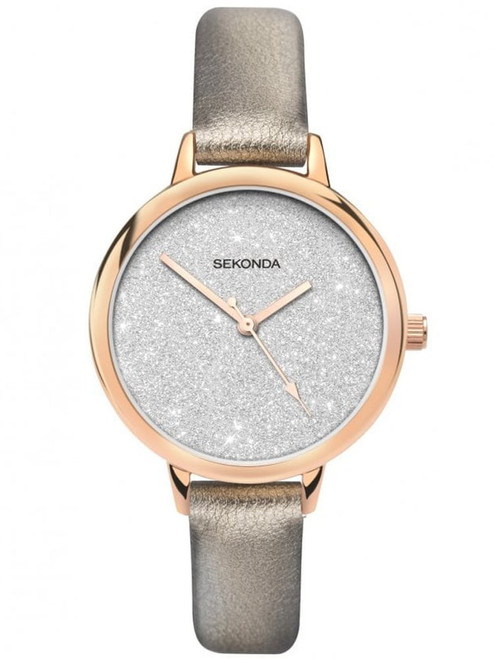 Sekonda Ladies Glitter Dial Leather Strap 40023