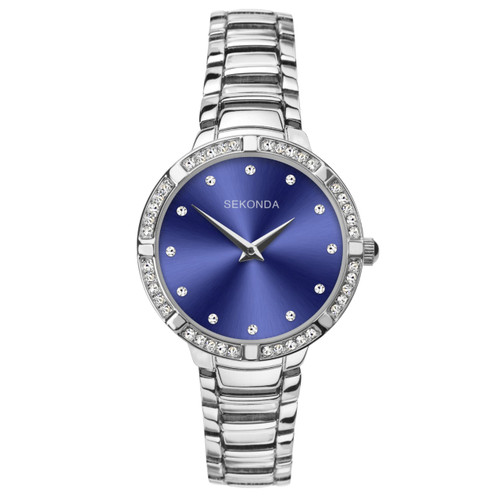 Sekonda Ladies Blue Dial Stone Set Bracelet Watch 40033