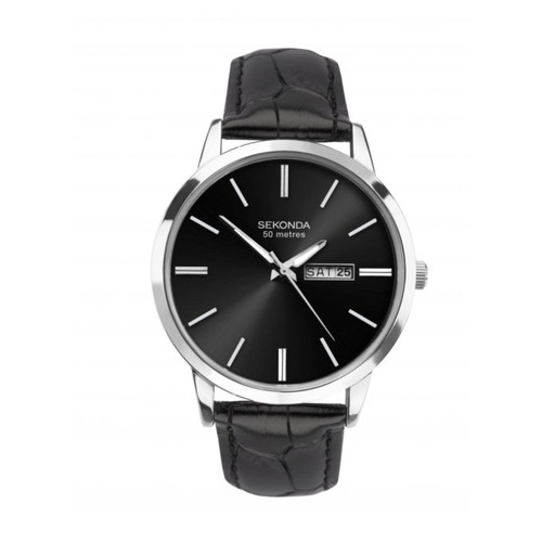 Sekonda Gents Stainless Steel Black Leather Strap 1705