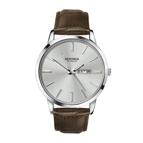 Sekonda Gents Classic Brown Leather Strap Watch 1661