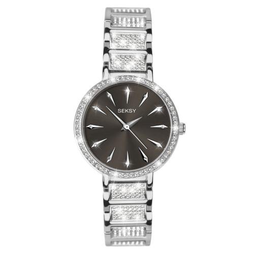 Sekonda Ladies Seksy Black Sunray Dial Stone Set Bracelet Watch 2731
