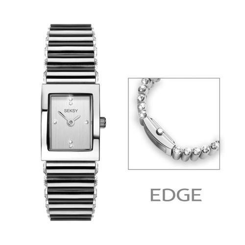Sekonda Ladies Seksy Edge Silver Coloured Stone Set Bracelet Watch 2864