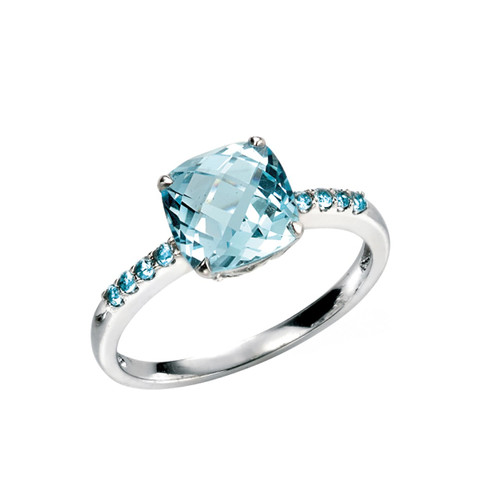 9ct White Gold Sky Blue Topaz Ring With Blue Topaz Set Shoulders
