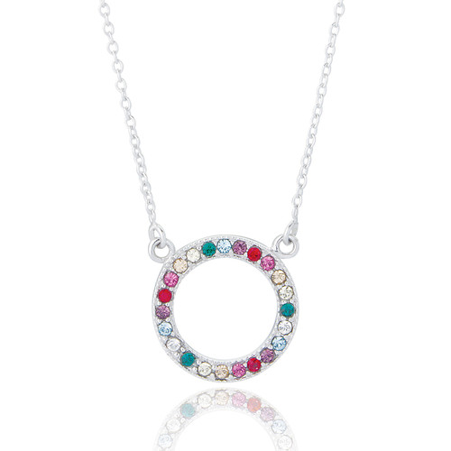 Sterling Silver Rainbow Circle of Life Necklace