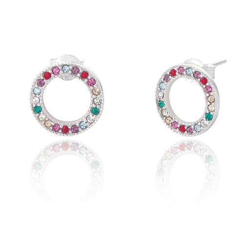 Sterling Silver Rainbow Circle of Life Stud Earrings