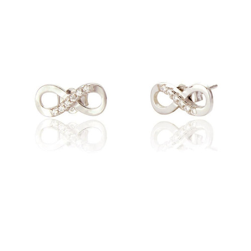 Sterling Silver Infinity Studs with Cubic Zirconia
