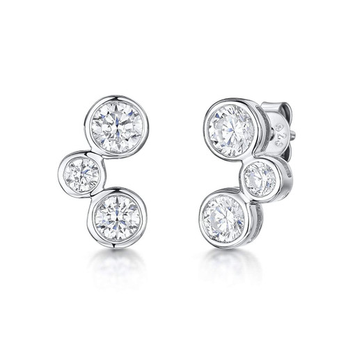 Sterling Silver 3 Cubic Zirconia Stud Earrings