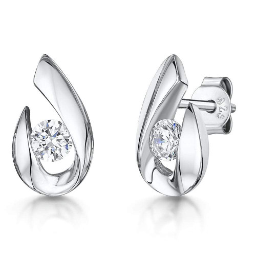 Sterling Silver Pear Drop Shape With Brilliant Cut Cubic Zirconia Stud Earrings