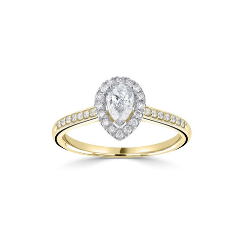 Seren Collection 18ct Yellow Gold Pear Shaped Diamond Halo Ring With Diamond Shoulders
