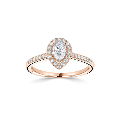 Seren Collection 18ct Rose Gold Pear Shaped Diamond Halo Ring With Diamond Shoulders