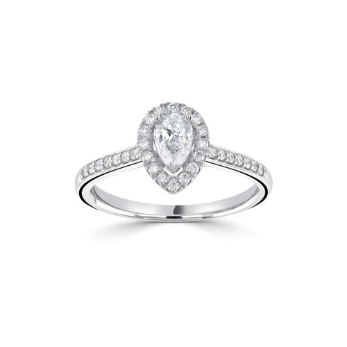 Seren Collection 18ct White Gold Pear Shaped Diamond Halo Ring With Diamond Shoulders