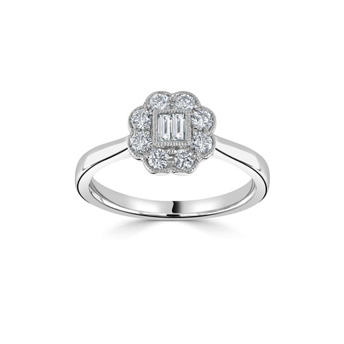 Platinum 0.42ct Baguette and Brilliant Cut Diamond Floral Inspired Ring