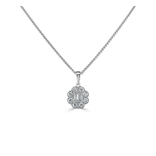 18ct White Gold 0.42ct Baguette and Brilliant Cut Diamond Floral Inspired Pendant