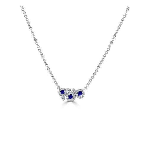 18ct White Gold Sapphire and Diamond Dew Necklace