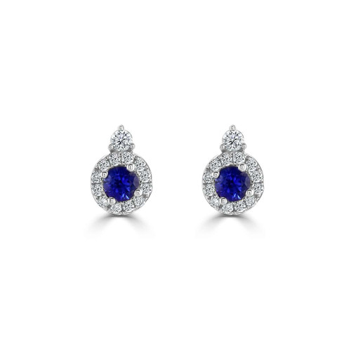 18ct White Gold Sapphire and Diamond Dew Earrings