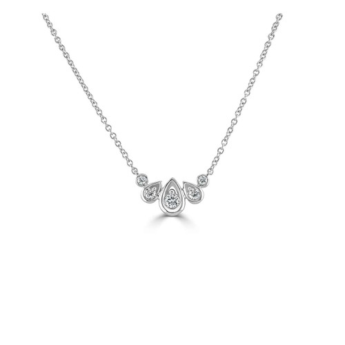 18ct White Gold 0.27ct Diamond Droplet Necklace