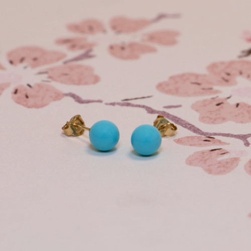 18ct Yellow Gold 6mm Turquoise Ball Stud Earrings
