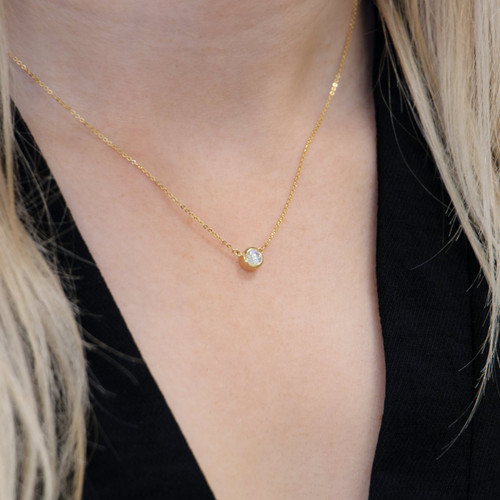 18ct Yellow Gold 0.40ct Rubover Set Diamond Necklace