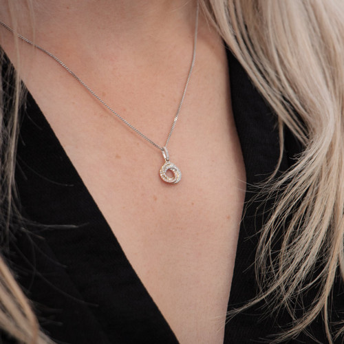 9ct Yellow, White and Rose Gold Diamond Knot Necklace