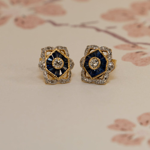 18ct Yellow Gold Vintage Inspired Sapphire and Diamond Stud Earrings