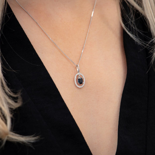 18ct White Gold Floating Sapphire and Diamond Necklace