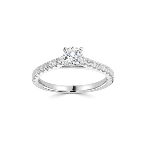 Lucia Collection Platinum Brilliant Cut Diamond Solitaire Ring with Diamond Shoulders