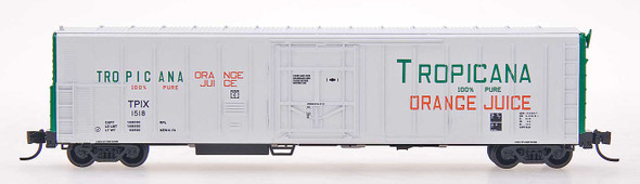 Red Caboose N Scale Tropicana 57ft. Mechanical Refrigerator Car #242 White W/Green Ends, ca. 1977