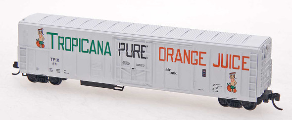 Red Caboose N Scale Tropicana 57ft. Mechanical Refrigerator Car #529 White W/Large Lettering 2 figures, ca. 1972