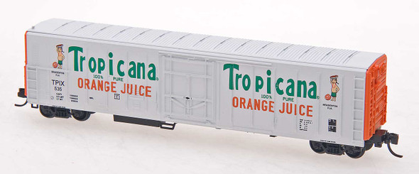 Red Caboose N Scale Tropicana 57ft. Mechanical Refrigerator Car #535 White W/Orange end, 2 figures, ca 1983