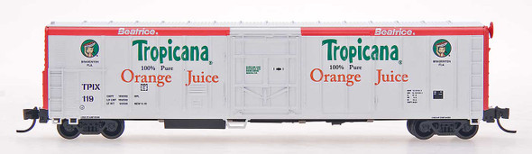 Red Caboose N Scale Tropicana 57ft. Mechanical Refrigerator Car #119 White W/Red Ends and Letterboards, ca. 1985