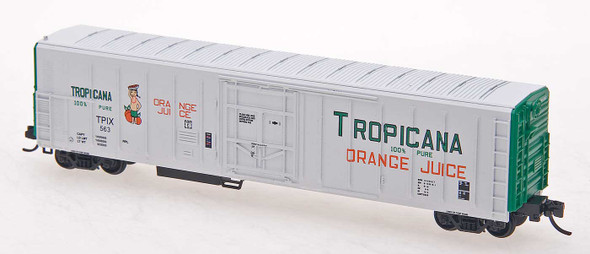 Red Caboose N Scale Tropicana 57ft. Mechanical Refrigerator Car #540 White W/Green Ends, 1 Figure, ca. 1979