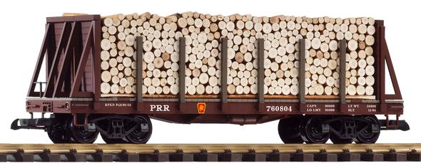 PIKO 38755Pennsylvania Railroad (PRR) Bulkhead Flat w/ Pulpwood Load (G-Scale)