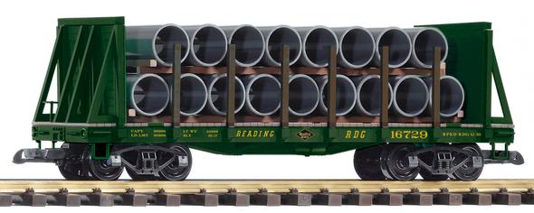 PIKO 38756 Reading Railroad(RDG) Bulkhead Flat w/ Pipe Load (G-Scale)