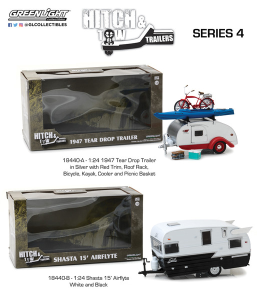 GREENLIGHT 1:24 SCALE HITCH & TOW TRAILERS SERIES 4 - 2 PACK
