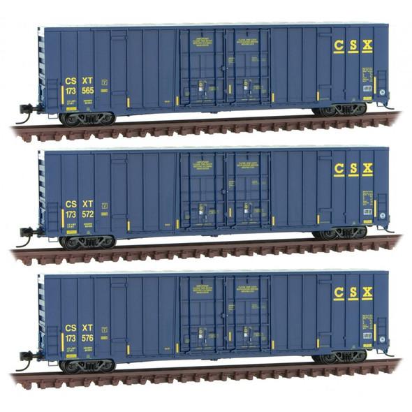 MICRO-TRAINS CSX 993 01 860 60' RIB SIDE, DOUBLE PLUG DOOR HIGH-CUBE BOXCAR