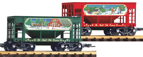 PIKO 38915 NORTH POLE EXPRESS ORE CAR, 2-PACK (G-SCALE)