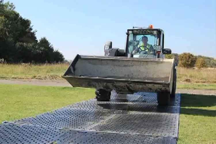 Heavy machinery can easily maneuver over the EverRoads without damaging them