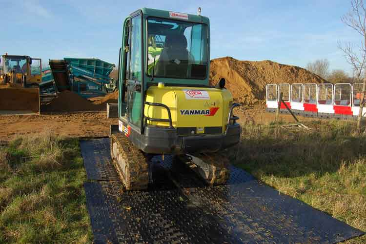 EverRoad mats are durable enough for excavators to work on
