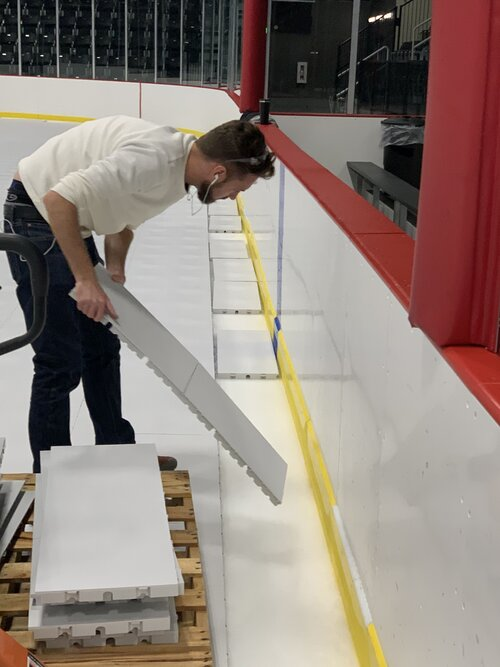 EverBase Tiles being placed on an ice rink