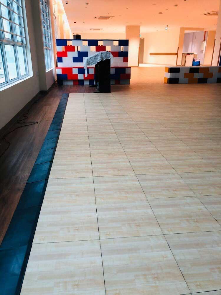 EverDance tiles with a light wood parquet