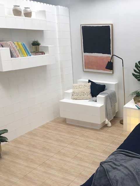 EverBlocks and EverBlock Flooring used to create a modular living room